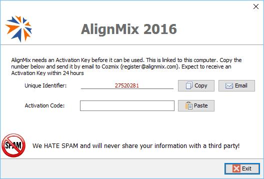 AlignMix Unique ID Screen