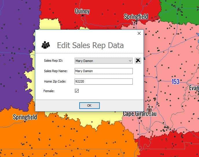 Editing Sales Reps